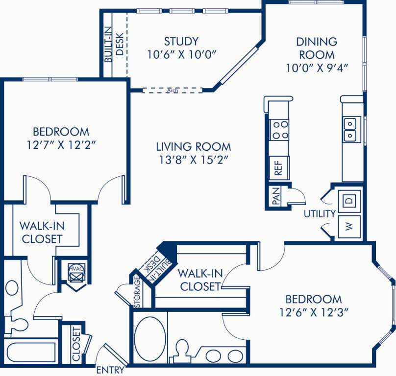2 Bedrooms 2 Bathrooms Apartment for rent at Camden Stonecrest in Charlotte, NC