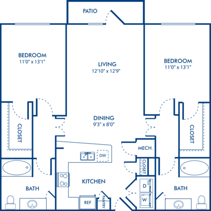 2 Bedrooms 2 Bathrooms Apartment for rent at Camden Vantage in Atlanta, GA