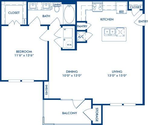 1 Bedroom 1 Bathroom Apartment for rent at Camden La Frontera in Round Rock, TX