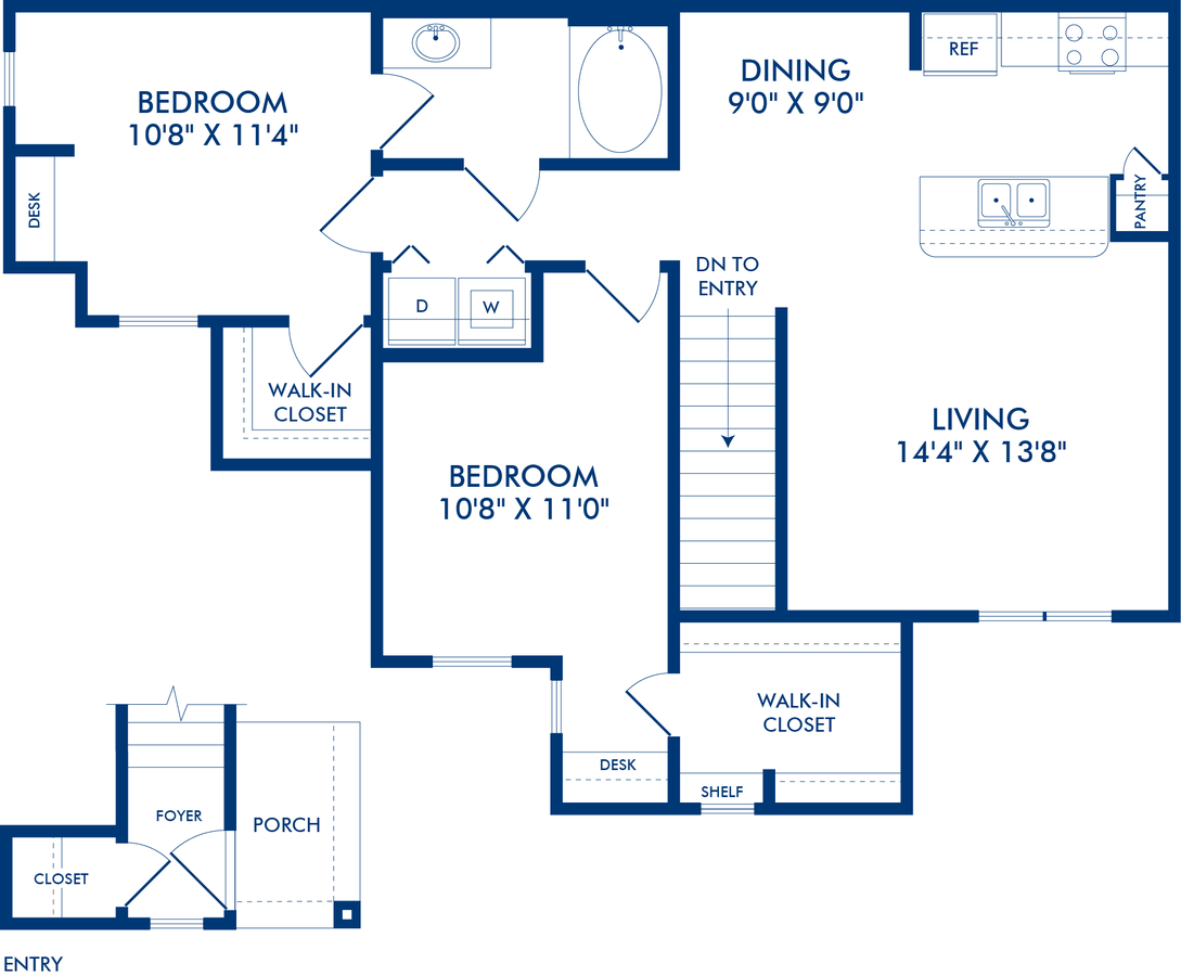 2 Bedrooms 1 Bathroom Apartment for rent at Camden Shadow Brook in Austin, TX
