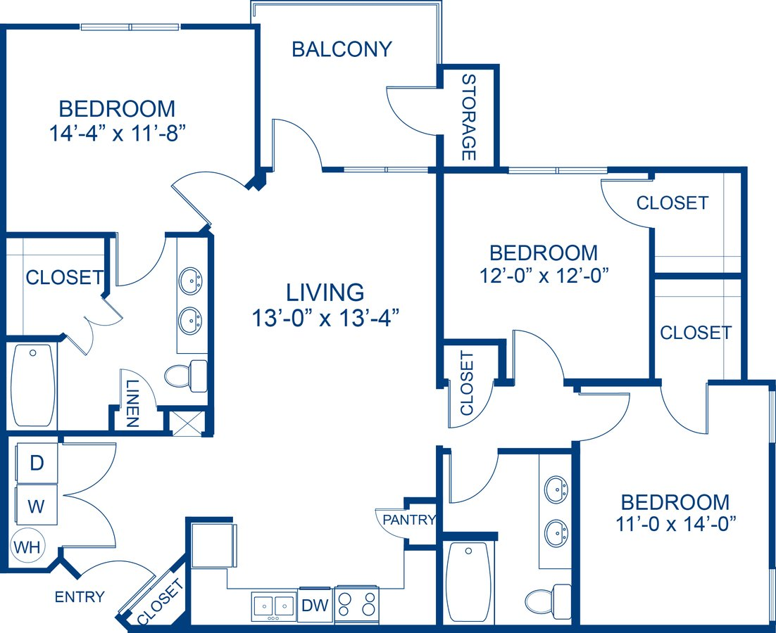 3 Bedrooms 2 Bathrooms Apartment for rent at Camden Waterford Lakes in Orlando, FL