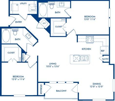 2 Bedrooms 2 Bathrooms Apartment for rent at Camden La Frontera in Round Rock, TX