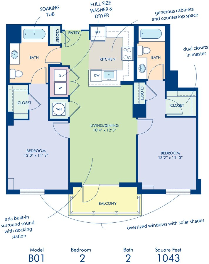 2 Bedrooms 2 Bathrooms Apartment for rent at Camden South Capitol in Washington, DC
