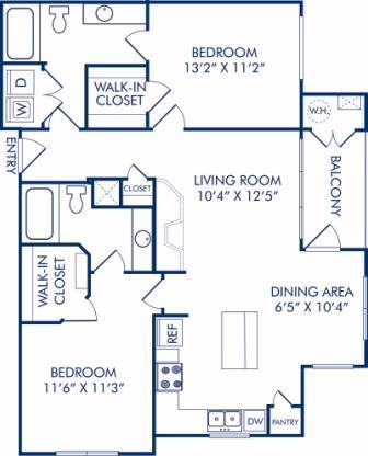 2 Bedrooms 2 Bathrooms Apartment for rent at Camden Fallsgrove in Rockville, MD