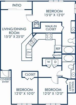 3 Bedrooms 2 Bathrooms Apartment for rent at Camden Plantation in Plantation, FL