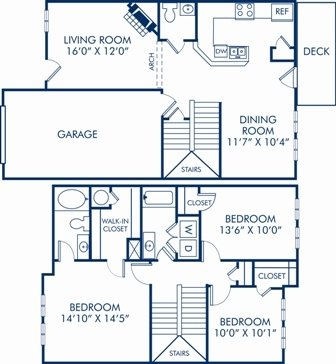 3 Bedrooms 2 Bathrooms Apartment for rent at Camden Governors Village in Chapel Hill, NC