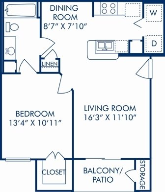 1 Bedroom 1 Bathroom Apartment for rent at Camden Greenway in Houston, TX