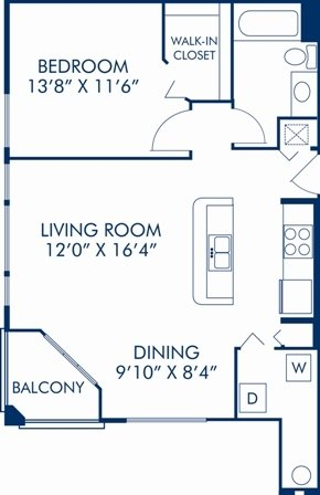 1 Bedroom 1 Bathroom Apartment for rent at Camden World Gateway in Orlando, FL