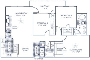 3 Bedrooms 2 Bathrooms Apartment for rent at Camden Stoneleigh in Austin, TX