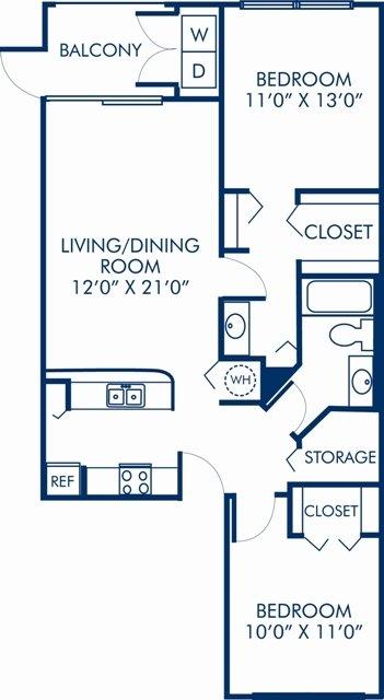 2 Bedrooms 1 Bathroom Apartment for rent at Camden Portofino in Pembroke Pines, FL