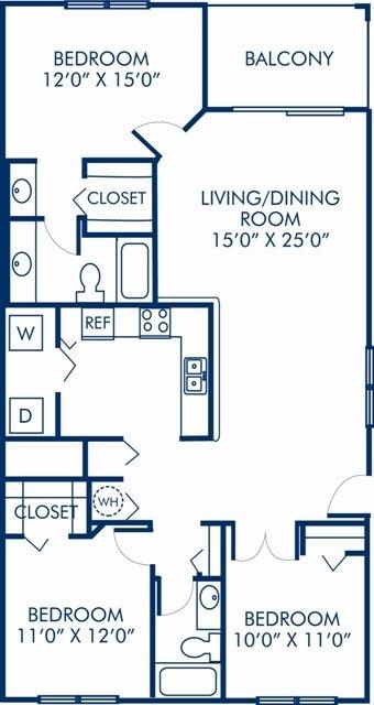 3 Bedrooms 2 Bathrooms Apartment for rent at Camden Portofino in Pembroke Pines, FL