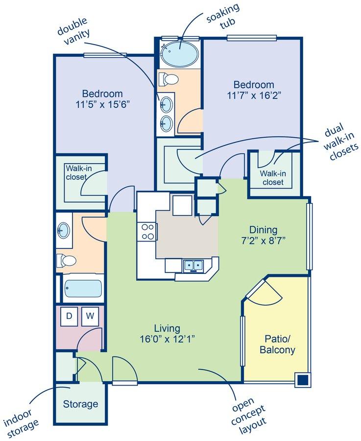 2 Bedrooms 2 Bathrooms Apartment for rent at Camden Pecos Ranch in Chandler, AZ