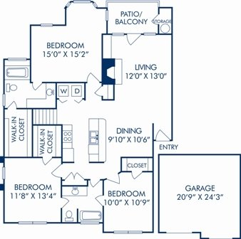 3 Bedrooms 2 Bathrooms Apartment for rent at Camden Legacy Park in Plano, TX