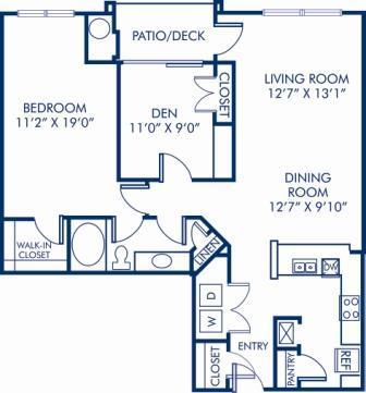 2 Bedrooms 1 Bathroom Apartment for rent at Camden Russett in Laurel, MD
