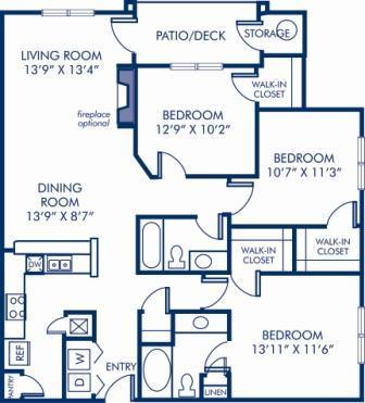 3 Bedrooms 2 Bathrooms Apartment for rent at Camden Russett in Laurel, MD