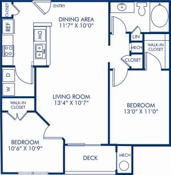 2 Bedrooms 1 Bathroom Apartment for rent at Camden Largo Town Center in Largo, MD