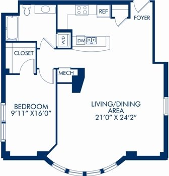 1 Bedroom 1 Bathroom Apartment for rent at Camden Grand Parc in Washington, DC