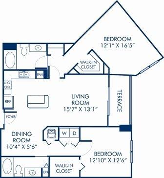 2 Bedrooms 2 Bathrooms Apartment for rent at Camden Las Olas in Fort Lauderdale, FL
