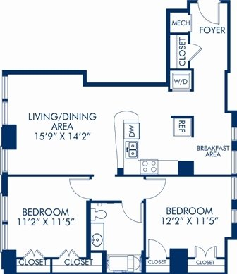 2 Bedrooms 1 Bathroom Apartment for rent at Camden Grand Parc in Washington, DC