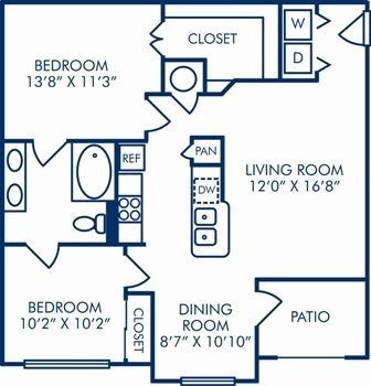 2 Bedrooms 1 Bathroom Apartment for rent at Camden Lago Vista in Orlando, FL