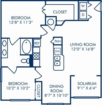 2 Bedrooms 1 Bathroom Apartment for rent at Camden Lago Vista in Orlando, FL