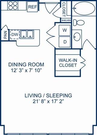 Studio 1 Bathroom Apartment for rent at Camden Plaza in Houston, TX