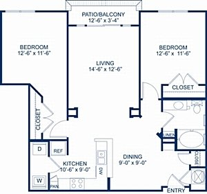 2 Bedrooms 1 Bathroom Apartment for rent at Camden College Park in College Park, MD