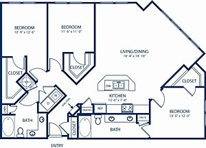 3 Bedrooms 2 Bathrooms Apartment for rent at Camden Dulles Station in Herndon, VA