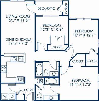 3 Bedrooms 2 Bathrooms Apartment for rent at Camden Reunion Park in Apex, NC