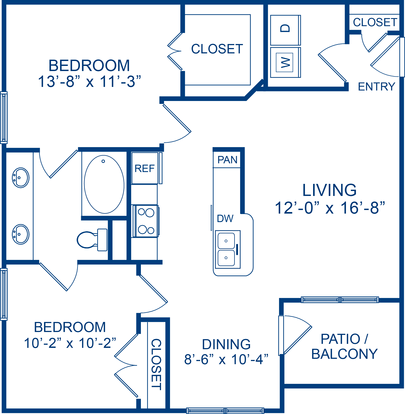 2 Bedrooms 1 Bathroom Apartment for rent at Camden Amber Oaks in Austin, TX