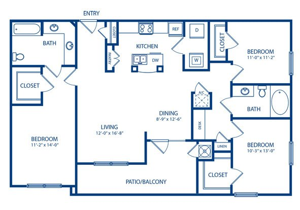 3 Bedrooms 2 Bathrooms Apartment for rent at Camden Amber Oaks in Austin, TX