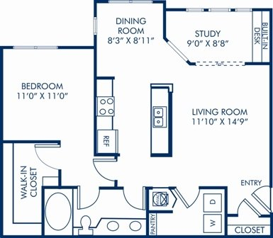 1 Bedroom 1 Bathroom Apartment for rent at Camden Stonecrest in Charlotte, NC