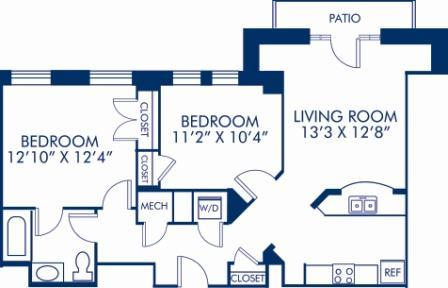 2 Bedrooms 1 Bathroom Apartment for rent at Camden Roosevelt in Washington, DC