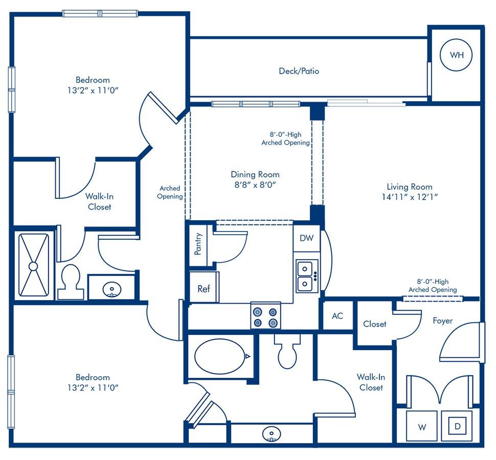 2 Bedrooms 2 Bathrooms Apartment for rent at Camden Overlook in Raleigh, NC