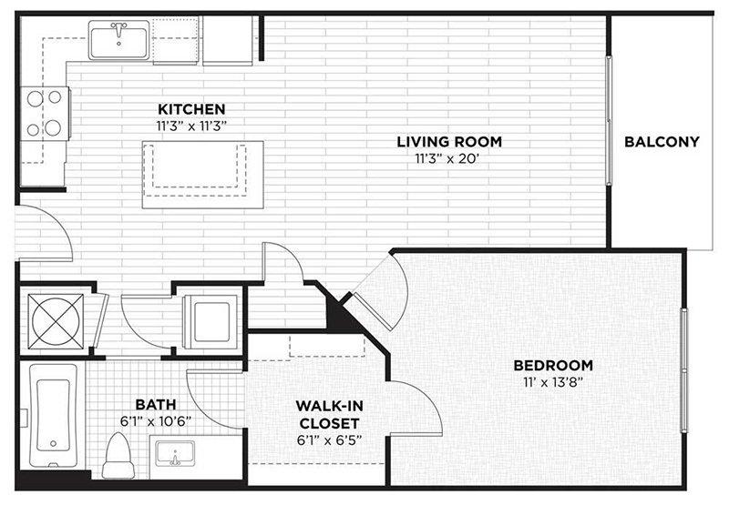 1 Bedroom 1 Bathroom Apartment for rent at Camden Thornton Park in Orlando, FL