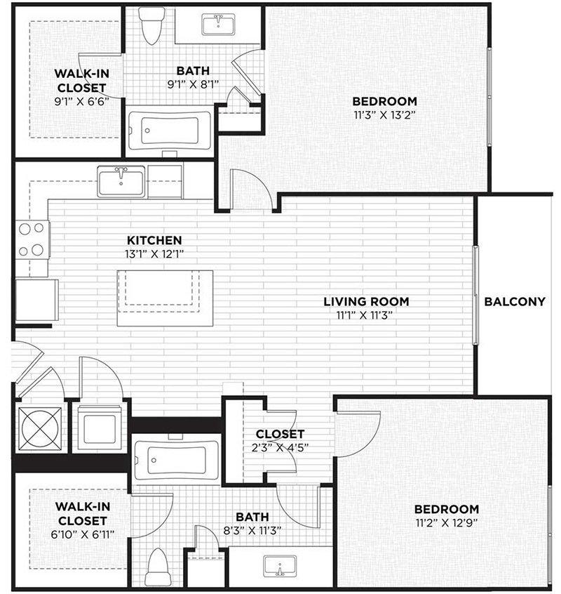 2 Bedrooms 2 Bathrooms Apartment for rent at Camden Thornton Park in Orlando, FL