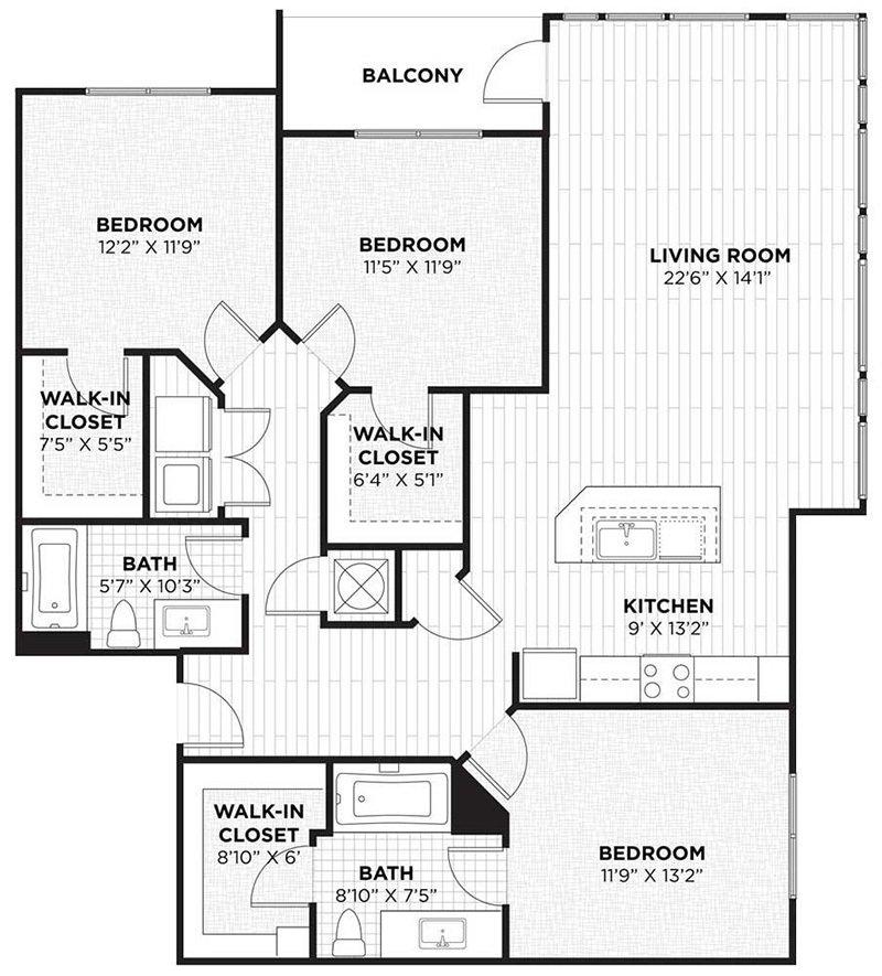 3 Bedrooms 2 Bathrooms Apartment for rent at Camden Thornton Park in Orlando, FL