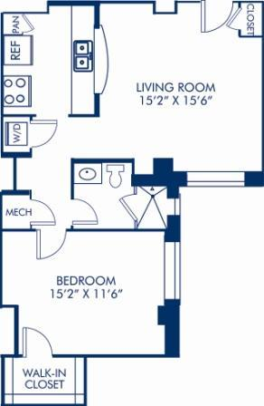 1 Bedroom 1 Bathroom Apartment for rent at Camden Roosevelt in Washington, DC