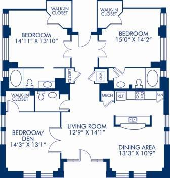 3 Bedrooms 2 Bathrooms Apartment for rent at Camden Roosevelt in Washington, DC