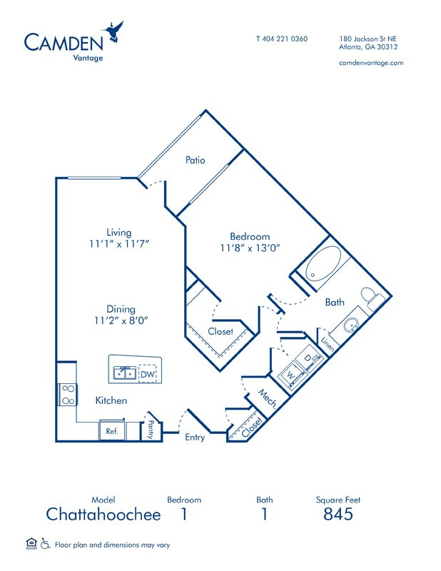 1 Bedroom 1 Bathroom Apartment for rent at Camden Vantage in Atlanta, GA