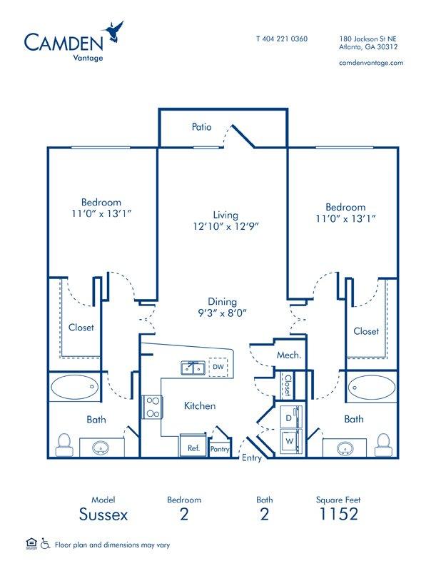 2 Bedrooms 2 Bathrooms Apartment for rent at Camden Vantage in Atlanta, GA