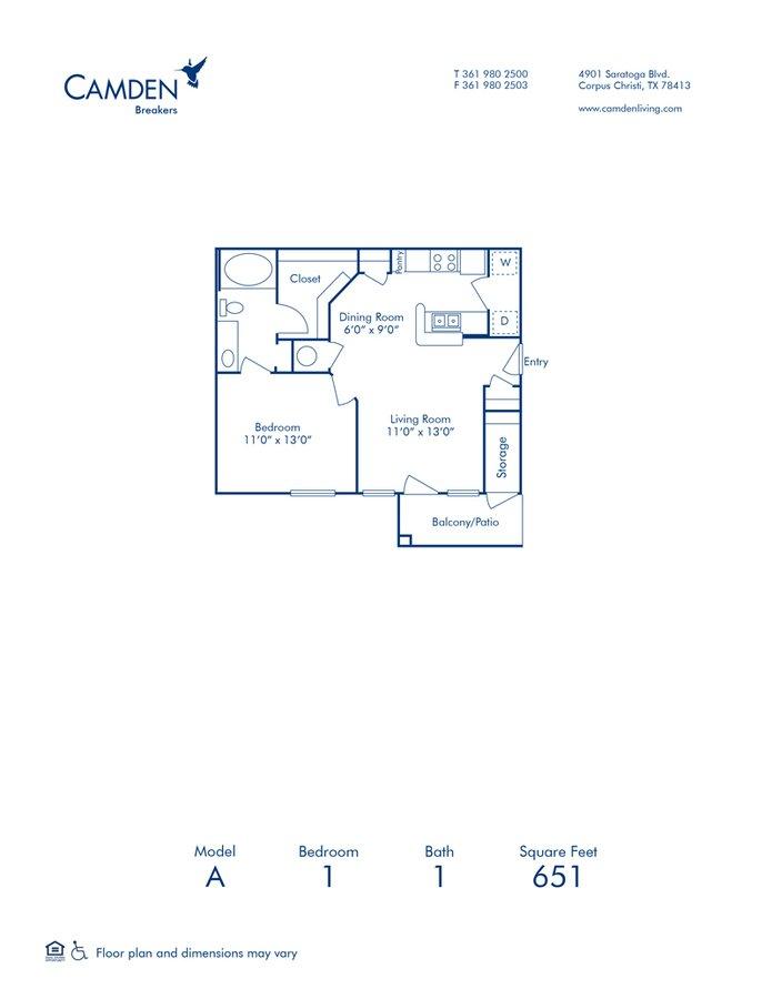 1 Bedroom 1 Bathroom Apartment for rent at Camden Breakers in Corpus Christi, TX