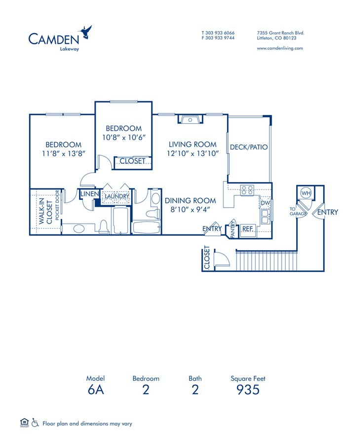 2 Bedrooms 2 Bathrooms Apartment for rent at Camden Lakeway in Lakewood, CO