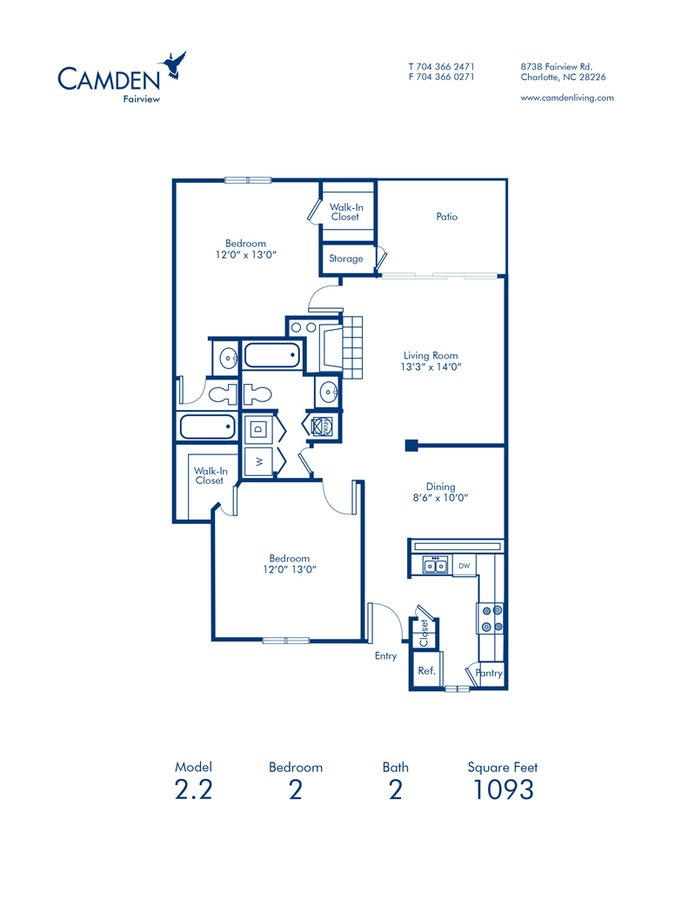 2 Bedrooms 2 Bathrooms Apartment for rent at Camden Fairview in Charlotte, NC