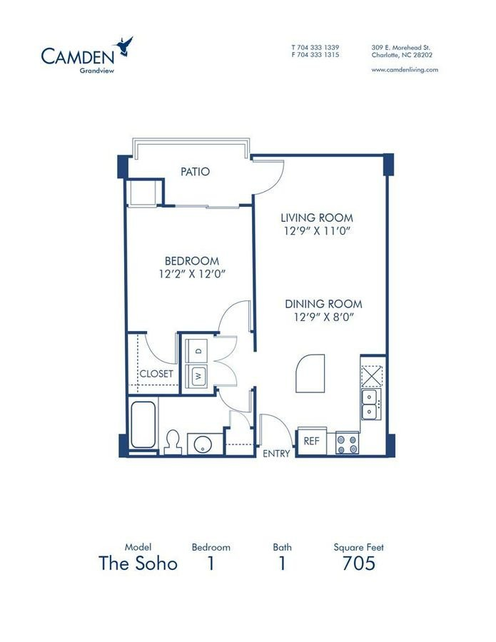 1 Bedroom 1 Bathroom Apartment for rent at Camden Grandview in Charlotte, NC