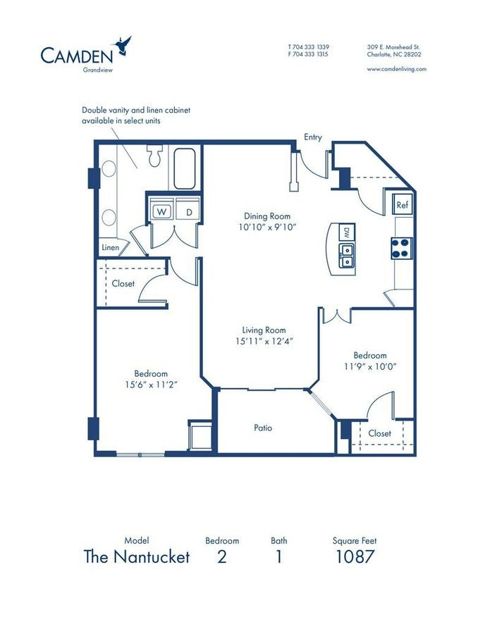2 Bedrooms 1 Bathroom Apartment for rent at Camden Grandview in Charlotte, NC