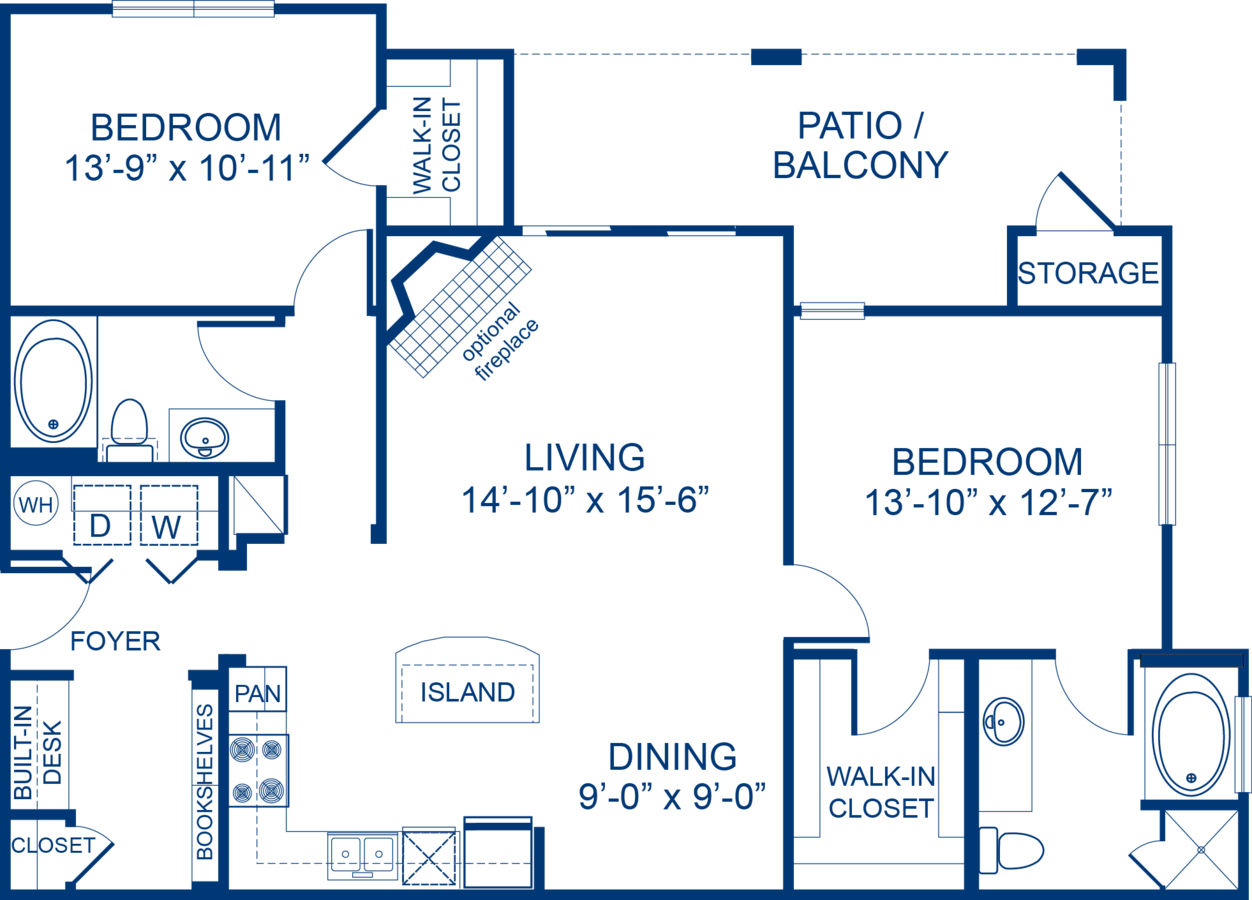 2 Bedrooms 2 Bathrooms Apartment for rent at Camden Asbury Village in Raleigh, NC