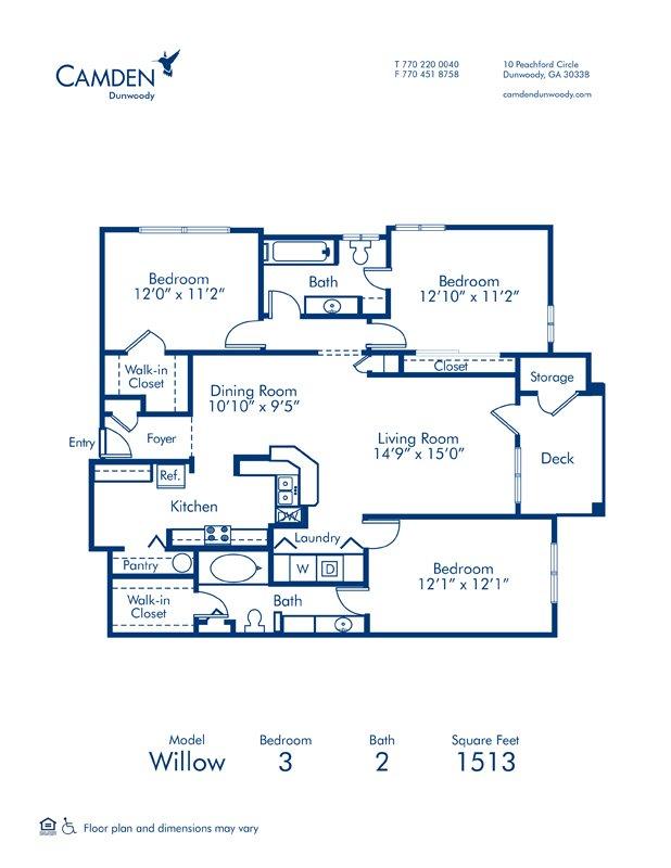 3 Bedrooms 2 Bathrooms Apartment for rent at Camden Dunwoody in Dunwoody, GA