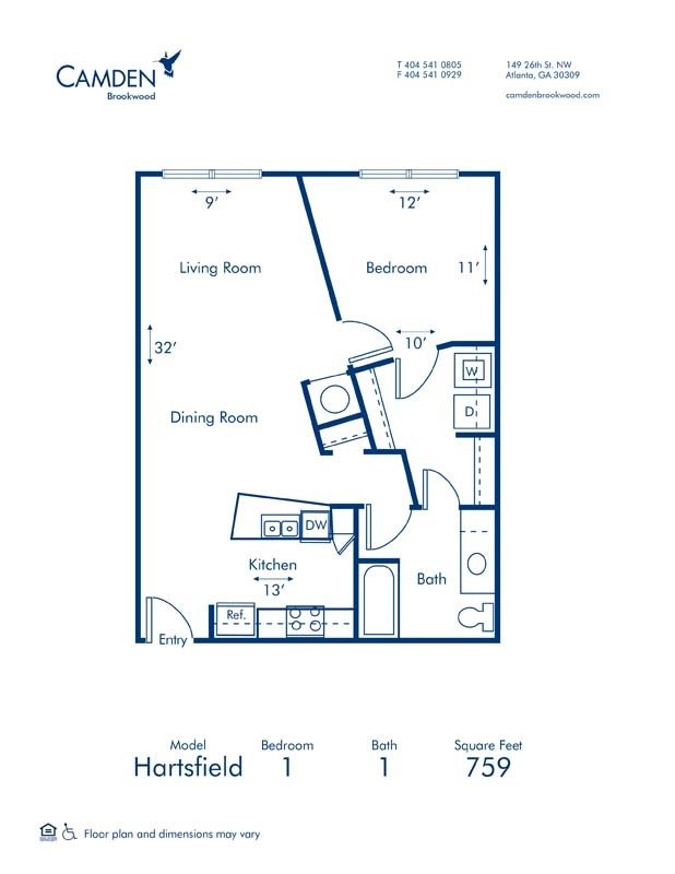 1 Bedroom 1 Bathroom Apartment for rent at Camden Brookwood in Atlanta, GA
