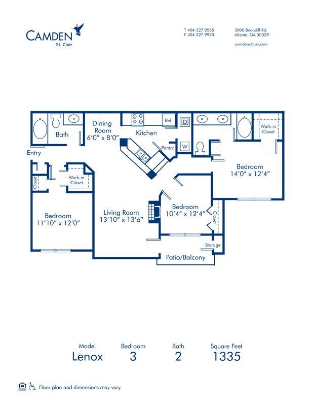 3 Bedrooms 2 Bathrooms Apartment for rent at Camden St. Clair in Atlanta, GA